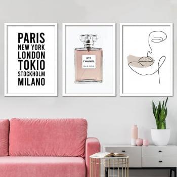 Conjunto de 3 Quadros Decorativos para Sala Nº 5 Chanel - Grife da Moda