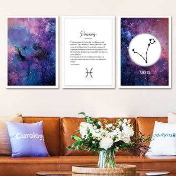 Conjunto de 3 Quadros Decorativos para Sala Peixes - Signos