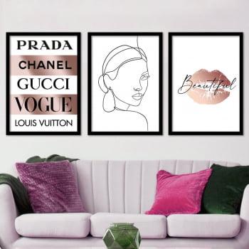 Conjunto de 3 Quadros Decorativos para Sala Prada Chanel Gucci Vogue Loius Vuitton Grifes