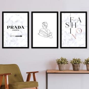 Conjunto de 3 Quadros Decorativos para Sala Prada Marfa Fashion - Grife