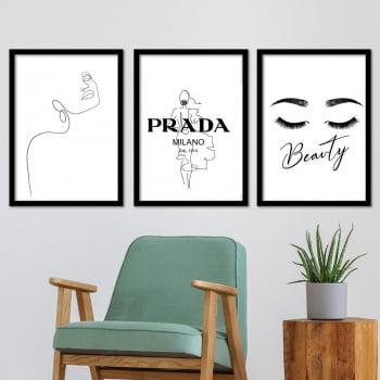 Conjunto de 3 Quadros Decorativos para Sala Prada Milano Beauty - Grife