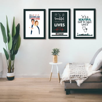 Conjunto de 3 Quadros Decorativos para Sala Série Grey's Anatomy - It's A Beautiful Day To Save Lives - Filmes