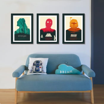 Conjunto de 3 Quadros Decorativos para Sala Star Wars Return Of The Jedi e The Empire Strikes Back - Filmes