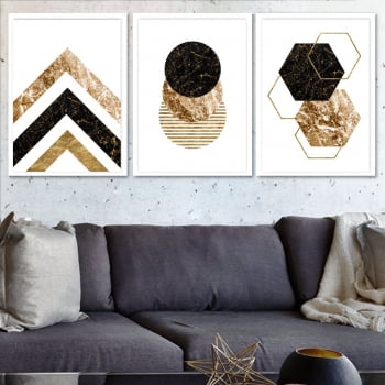 Conjunto de 3 Quadros Decorativos para Sala Triângulos, Círculos e Hexagonos - Black Gold - Geométricos
