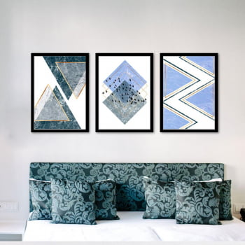 Conjunto de 3 Quadros Decorativos para Sala Triângulos e Losangos Geométricos - Azul