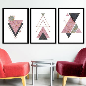 Conjunto de 3 Quadros Decorativos para Sala Triângulos II - Rosê - Geometricos