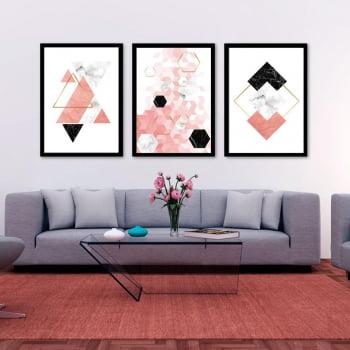 Conjunto de 3 Quadros Decorativos para Sala Triângulos, Losangos e Pentagonos Geométricos - Rose