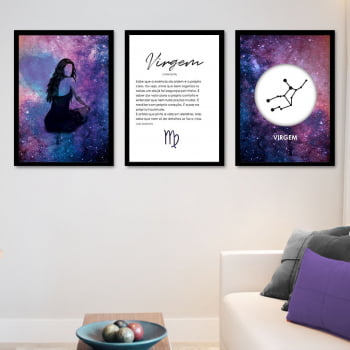 Conjunto de 3 Quadros Decorativos para Sala Virgem - Signos