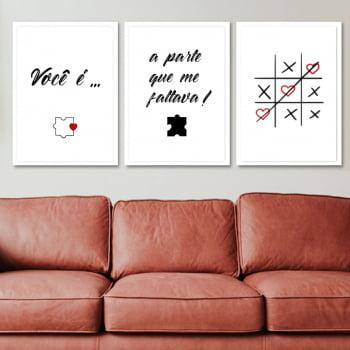 Conjunto de 3 Quadros Decorativos para Sala Você É A Parte Que Me Faltava - Namorados