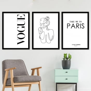 Conjunto de 3 Quadros Decorativos para Sala Vogue Take Me To Paris - Moda