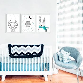 Conjunto de 3 Quadros Decorativos Te Amamos Mais Que Todas As Estrelas - Infantil