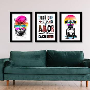Conjunto de 3 Quadros Decorativos Tudo Que Precisamos É Amor E Um Cachorro - Meu Pet