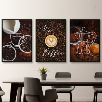 Conjunto de 3 Quadros Decorativos We Coffee Corporativo - Marrom