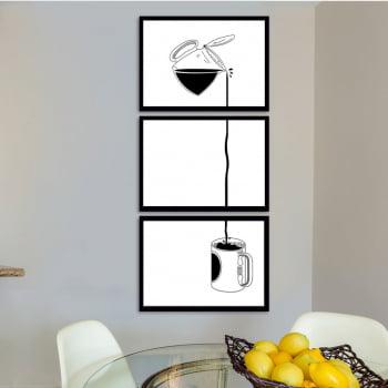 Conjunto de 3 Quadros Decorativos para Cozinha Caneca de Café