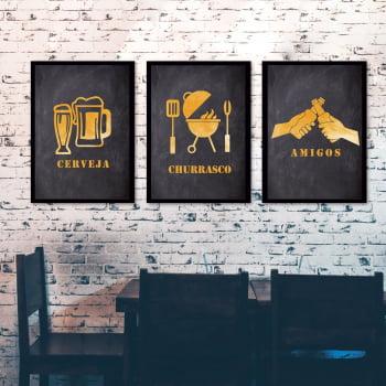 Conjunto de 3 Quadros Decorativos para Cozinha Cerveja, Churrasco e Amigos