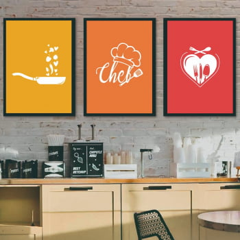 Conjunto de 3 Quadros Decorativos para Cozinha Chef