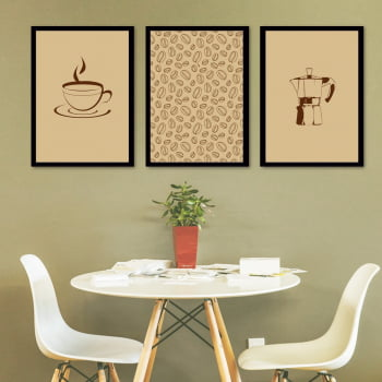 Conjunto de 3 Quadros Decorativos para Cozinha Grãos de Café