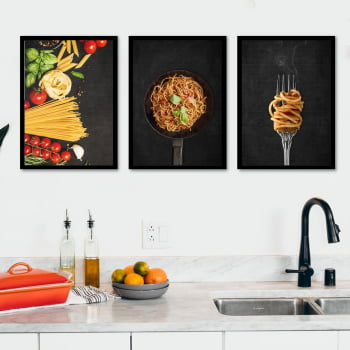 Conjunto de 3 Quadros Decorativos para Cozinha Macarronada