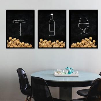 Conjunto de 3 Quadros Decorativos para Cozinha Saca-Rolha, Vinho e Taça