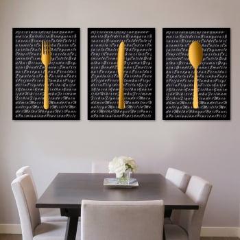 Conjunto de 3 Quadros Decorativos para Cozinha Talheres Dourados