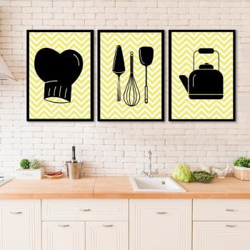 Conjunto de 3 Quadros Decorativos para Cozinha Utensílios Domésticos