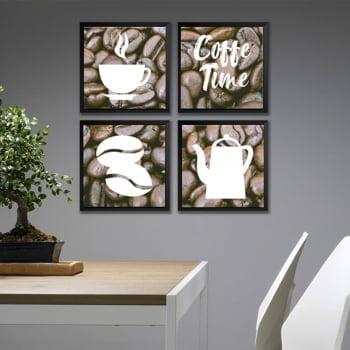 Conjunto de 4 Quadros Decorativos Coffe Time Corporativo - Marrom e Branco