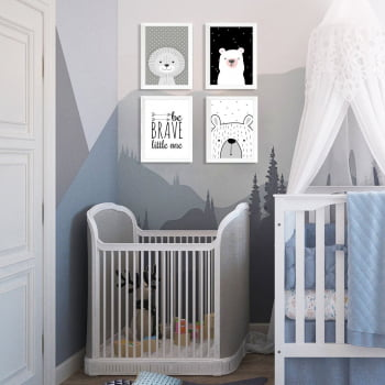 Conjunto de 4 Quadros Decorativos para Quarto Be Brave Litte One - Infantil