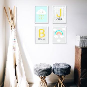Conjunto de 4 Quadros Decorativos para Quarto Bento e Julia - Infantil