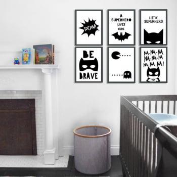 Conjunto de 6 Quadros Decorativos para Quarto Little Superhero - Infantil