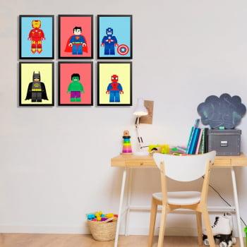 Conjunto de 6 Quadros Decorativos para Quarto Marvel e DC Comics - Infantil