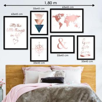 Conjunto de 6 Quadros para Quarto Casal - Triângulos, Bússola, Mapa e Love
