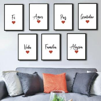 Conjunto de 7 Quadros Decorativos Palavras para Sala - Branco
