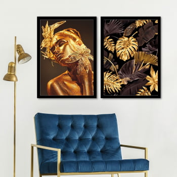 Conjunto de 2 Quadros Decorativos para Sala Black and Golden Flow - Linha Black