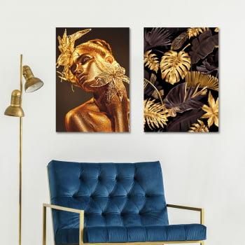Conjunto de 2 Quadros Decorativos para Sala Black and Golden Flow - Linha Black