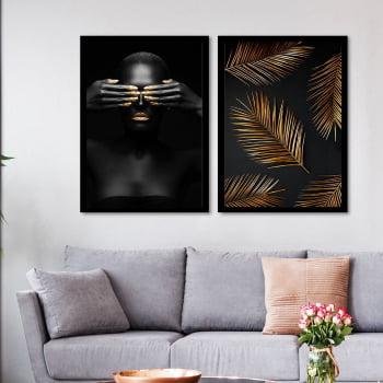 Conjunto de 2 Quadros Decorativos para Sala Black Face With Gold Hand II - Linha Black