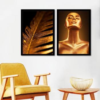 Conjunto de 2 Quadros Decorativos para Sala Black Gold Woman - Linha Black