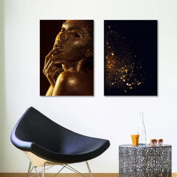 Conjunto de 2 Quadros Decorativos para Sala Black Woman With Gold Skin - Linha Black
