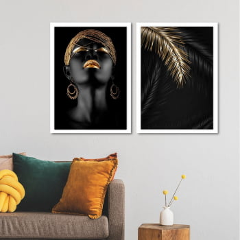 Conjunto de 2 Quadros Decorativos para Sala Gold Makeup For Black Face - Linha Black
