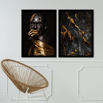 Conjunto de 2 Quadros Decorativos para Sala Gold Woman Of Black - Linha Black