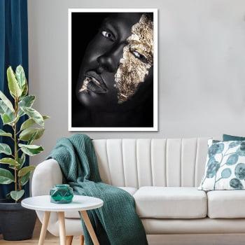 Tela Inteira Decorativa para Sala Woman Black & Gold II - Linha Black