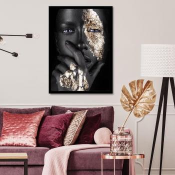 Tela Inteira Decorativa para Sala Woman Black & Gold - Linha Black