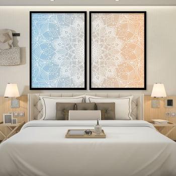 Conjunto de 2 Quadros Decorativos para Quarto Casal Mandala Causa e Efeito