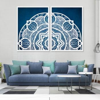 Conjunto de 2 Quadros Decorativos para Sala Mandala Azul