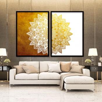 Conjunto de 2 Quadros Decorativos para Sala Mandala Solar