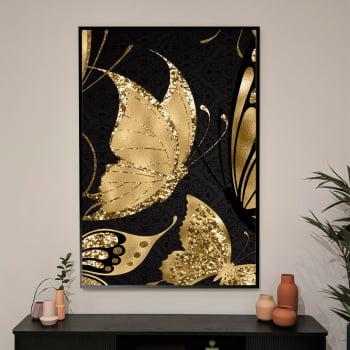 Quadro Decorativo para Sala Borboleta Dourada Glitter - Mundo Animal