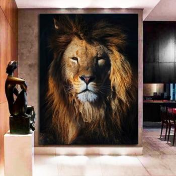 Quadro Decorativo para Sala Leão da Selva - Mundo Animal