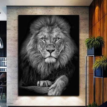 Quadro Decorativo para Sala Lion Black - Mundo Animal