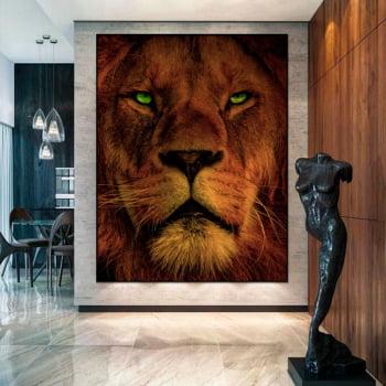 Tela Inteira Decorativa Leão I para Sala de Jantar - Mundo Animal
