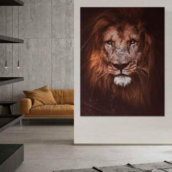 Tela Inteira Decorativa Leão II para Sala de Estar - Mundo Animal