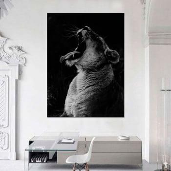 Tela Inteira Decorativa para Escritório Leoa II - Mundo Animal